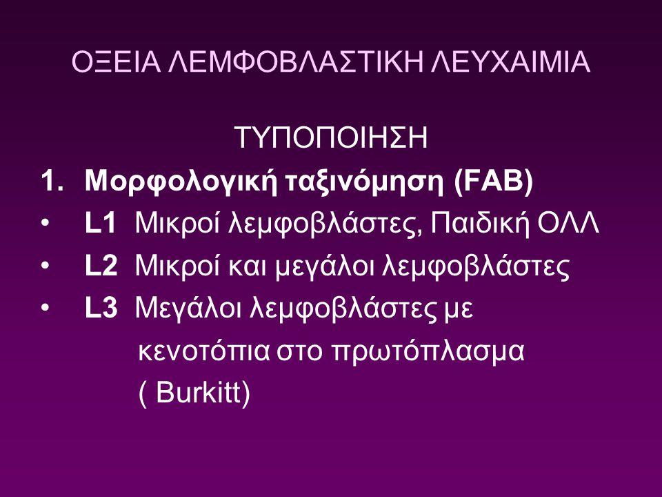 ΟΞΕΙΑ ΛΕΜΦΟΒΛΑΣΤΙΚΗ ΛΕΥΧΑΙΜΙΑ ΤΥΠΟΠΟΙΗΣΗ 1.Μορφολογική ταξινόμηση (FAB) L1 Μικροί λεμφοβλάστες, Παιδική ΟΛΛ L2 Mικροί και μεγάλοι λεμφοβλάστες L3 Μεγά