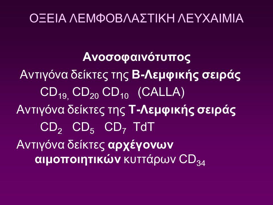 ΟΞΕΙΑ ΛΕΜΦΟΒΛΑΣΤΙΚΗ ΛΕΥΧΑΙΜΙΑ Ανοσοφαινότυπος Αντιγόνα δείκτες της Β-Λεμφικής σειράς CD 19, CD 20 CD 10 (CALLA) Αντιγόνα δείκτες της T-Λεμφικής σειράς