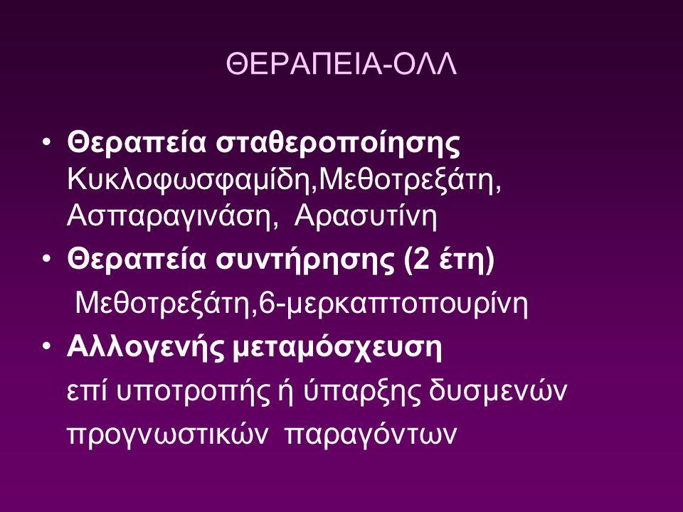 ΘΕΡΑΠΕΙΑ-ΟΛΛ Θεραπεία σταθεροποίησης Κυκλοφωσφαμίδη,Μεθοτρεξάτη, Ασπαραγινάση, Αρασυτίνη Θεραπεία συντήρησης (2 έτη) Μεθοτρεξάτη,6-μερκαπτοπουρίνη Αλλ