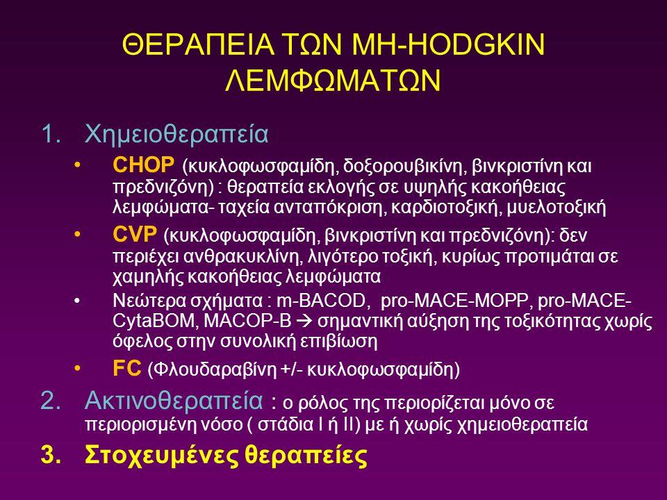 1.Χημειοθεραπεία CHOP (κυκλοφωσφαμίδη, δοξορουβικίνη, βινκριστίνη και πρεδνιζόνη) : θεραπεία εκλογής σε υψηλής κακοήθειας λεμφώματα- ταχεία ανταπόκρισ
