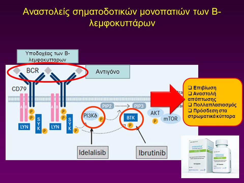 Αναστολείς σηματοδοτικών μονοπατιών των Β- λεμφοκυττάρων Αντιγόνο Υποδοχέας των Β- λεμφοκυτταρων  Επιβίωση  Αναστολή απόπτωσης  Πολλαπλασιασμός  Π