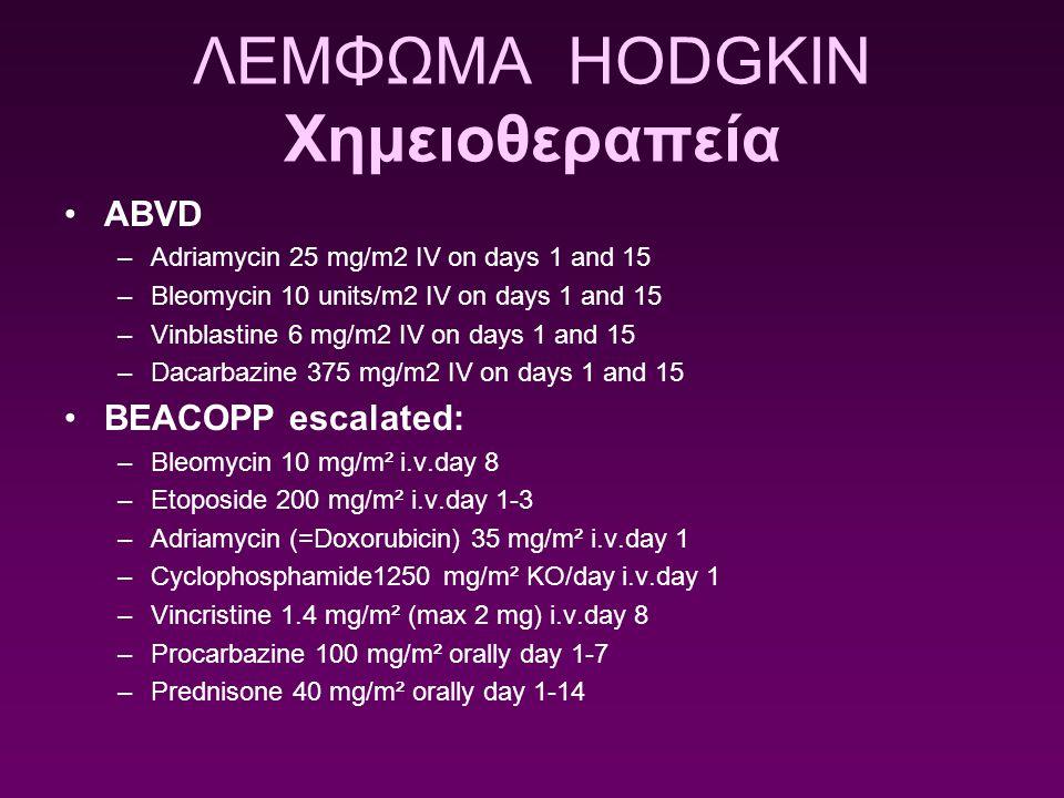 ΛΕΜΦΩΜΑ HODGKIN Χημειοθεραπεία ABVD –Adriamycin 25 mg/m2 IV on days 1 and 15 –Bleomycin 10 units/m2 IV on days 1 and 15 –Vinblastine 6 mg/m2 IV on day