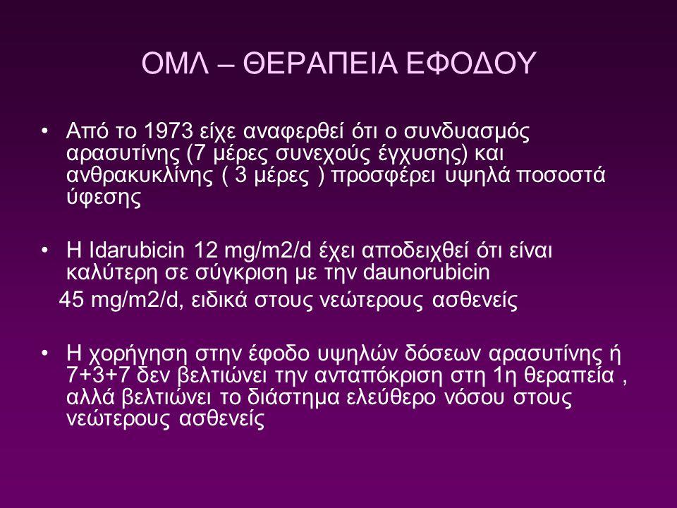 ΟΜΛ – ΘΕΡΑΠΕΙΑ ΕΦΟΔΟΥ Από το 1973 είχε αναφερθεί ότι ο συνδυασμός αρασυτίνης (7 μέρες συνεχούς έγχυσης) και ανθρακυκλίνης ( 3 μέρες ) προσφέρει υψηλά