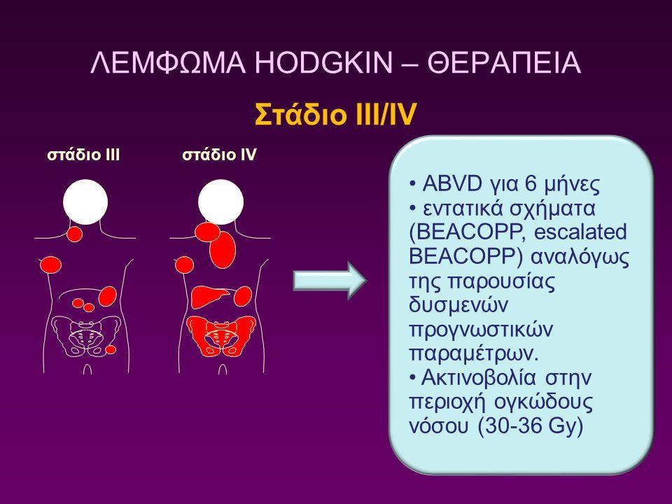 ΛΕΜΦΩΜΑ HODGKIN – ΘΕΡΑΠΕΙΑ Στάδιο ΙΙΙ/ΙV ABVD για 6 μήνες εντατικά σχήματα (BEACOPP, escalated BEACOPP) αναλόγως της παρουσίας δυσμενών προγνωστικών π