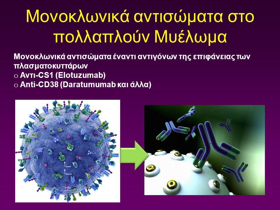 Μονοκλωνικά αντισώματα στο πολλαπλούν Μυέλωμα Μονοκλωνικά αντισώματα έναντι αντιγόνων της επιφάνειας των πλασματοκυττάρων o Αντι-CS1 (Elotuzumab) o An