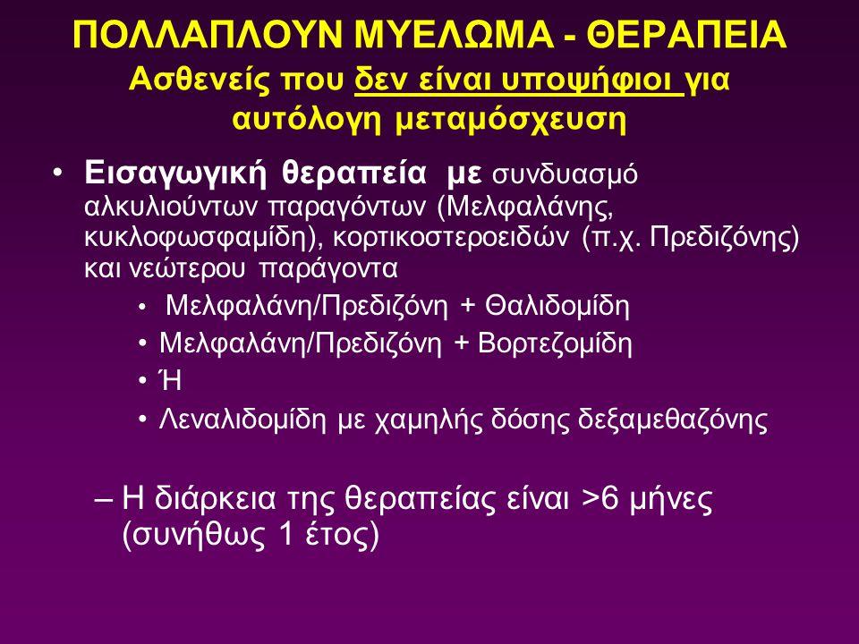 ΠΟΛΛΑΠΛΟΥΝ ΜΥΕΛΩΜΑ - ΘΕΡΑΠΕΙΑ Ασθενείς που δεν είναι υποψήφιοι για αυτόλογη μεταμόσχευση Εισαγωγική θεραπεία με συνδυασμό αλκυλιούντων παραγόντων (Μελ