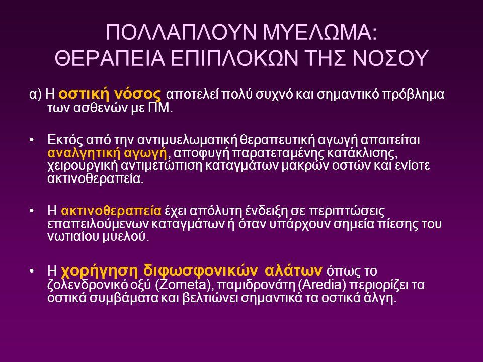 ΠΟΛΛΑΠΛΟΥΝ ΜΥΕΛΩΜΑ: ΘΕΡΑΠΕΙΑ ΕΠΙΠΛΟΚΩΝ ΤΗΣ ΝΟΣΟΥ α) Η οστική νόσος αποτελεί πολύ συχνό και σημαντικό πρόβλημα των ασθενών με ΠΜ. Εκτός από την αντιμυε