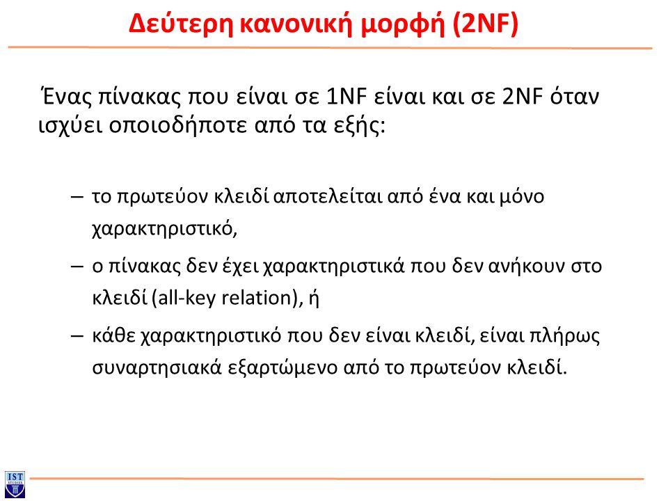 Δεύτερη κανονική μορφή (2NF) Ένας πίνακας που είναι σε 1NF είναι και σε 2NF όταν ισχύει οποιοδήποτε από τα εξής: – το πρωτεύον κλειδί αποτελείται από ένα και μόνο χαρακτηριστικό, – ο πίνακας δεν έχει χαρακτηριστικά που δεν ανήκουν στο κλειδί (all-key relation), ή – κάθε χαρακτηριστικό που δεν είναι κλειδί, είναι πλήρως συναρτησιακά εξαρτώμενο από το πρωτεύον κλειδί.