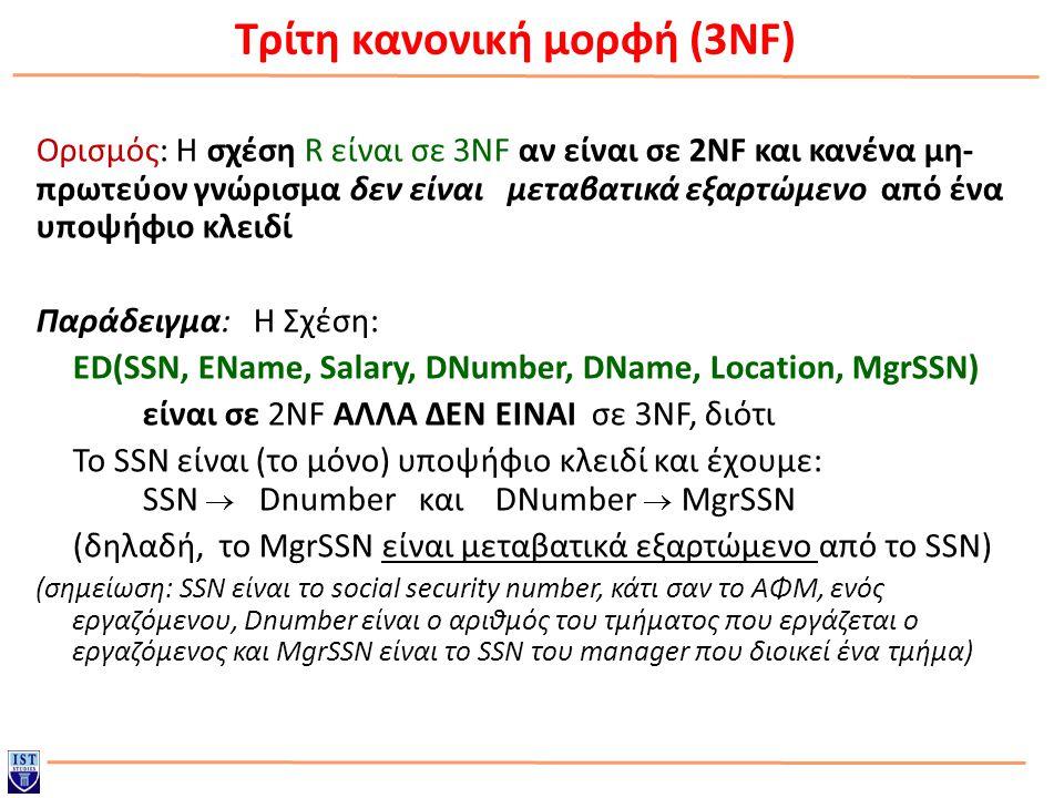 Τρίτη κανονική μορφή (3NF) Ορισμός: Η σχέση R είναι σε 3NF αν είναι σε 2NF και κανένα μη- πρωτεύον γνώρισμα δεν είναι μεταβατικά εξαρτώμενο από ένα υποψήφιο κλειδί Παράδειγμα: Η Σχέση: ED(SSN, EName, Salary, DNumber, DName, Location, MgrSSN) είναι σε 2NF ΑΛΛΑ ΔΕΝ ΕΙΝΑΙ σε 3NF, διότι Το SSN είναι (το μόνο) υποψήφιο κλειδί και έχουμε: SSN  Dnumber και DNumber  MgrSSN (δηλαδή, το MgrSSN είναι μεταβατικά εξαρτώμενο από το SSN) (σημείωση: SSN είναι το social security number, κάτι σαν το ΑΦΜ, ενός εργαζόμενου, Dnumber είναι ο αριθμός του τμήματος που εργάζεται ο εργαζόμενος και MgrSSN είναι το SSN του manager που διοικεί ένα τμήμα)