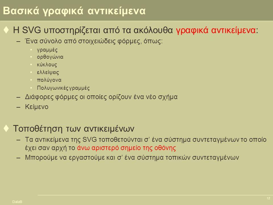 DalaB 12 Βασικά γραφικά αντικείμενα  Η SVG υποστηρίζεται από τα ακόλουθα γραφικά αντικείμενα: –Ένα σύνολο από στοιχειώδεις φόρμες, όπως: γραμμές ορθο