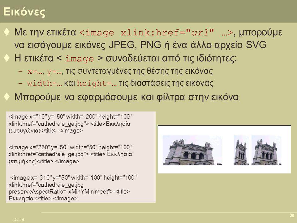 DalaB 26 Εικόνες  Με την ετικέτα, μπορούμε να εισάγουμε εικόνες JPEG, PNG ή ένα άλλο αρχείο SVG  Η ετικέτα συνοδεύεται από τις ιδιότητες: –x=…, y=…,