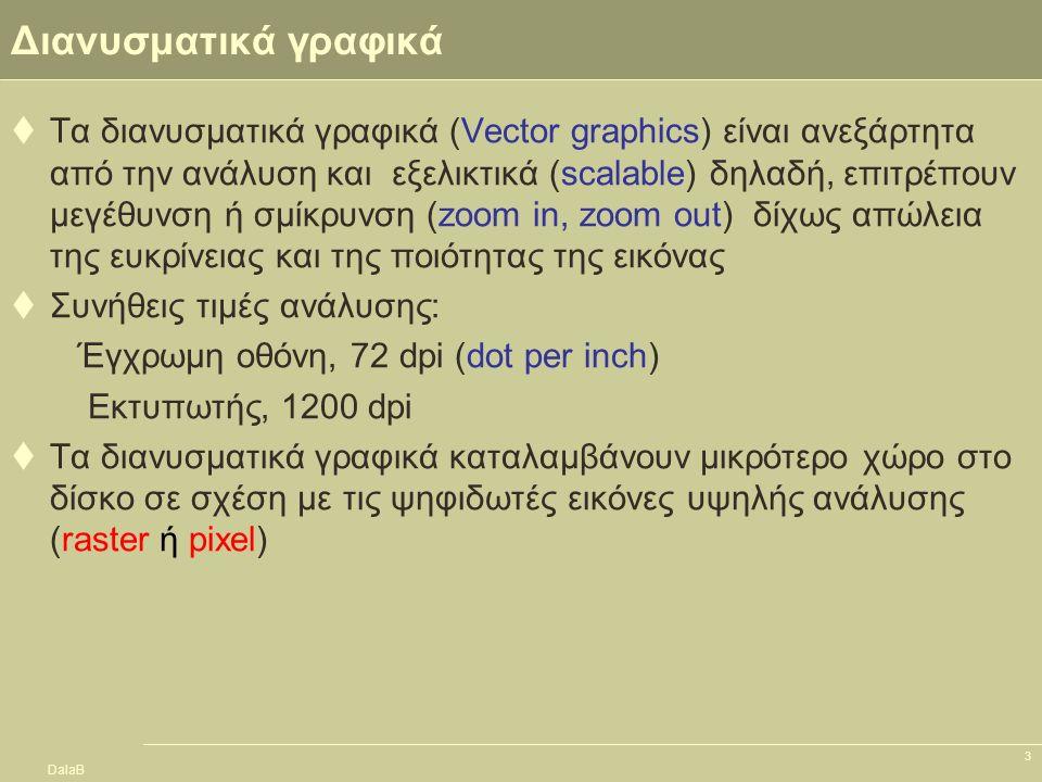 DalaB 3 Διανυσματικά γραφικά  Τα διανυσματικά γραφικά (Vector graphics) είναι ανεξάρτητα από την ανάλυση και εξελικτικά (scalable) δηλαδή, επιτρέπουν
