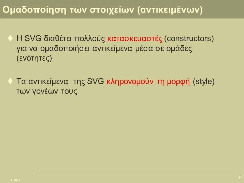 DalaB 33 Ομαδοποίηση των στοιχείων (αντικειμένων)  Η SVG διαθέτει πολλούς κατασκευαστές (constructors) για να ομαδοποιήσει αντικείμενα μέσα σε ομάδες