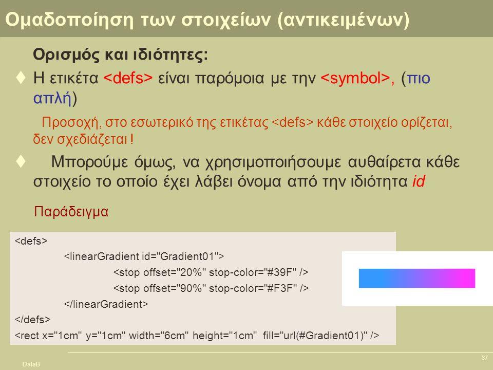 DalaB 37 Ομαδοποίηση των στοιχείων (αντικειμένων) Ορισμός και ιδιότητες:  Η ετικέτα είναι παρόμοια με την, (πιο απλή) Προσοχή, στο εσωτερικό της ετικ