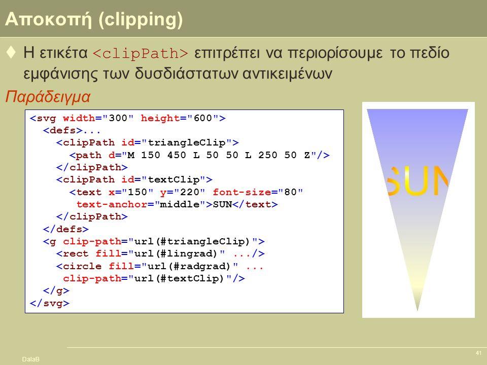 DalaB 41 Αποκοπή (clipping)  Η ετικέτα επιτρέπει να περιορίσουμε το πεδίο εμφάνισης των δυσδιάστατων αντικειμένων Παράδειγμα... <text x=