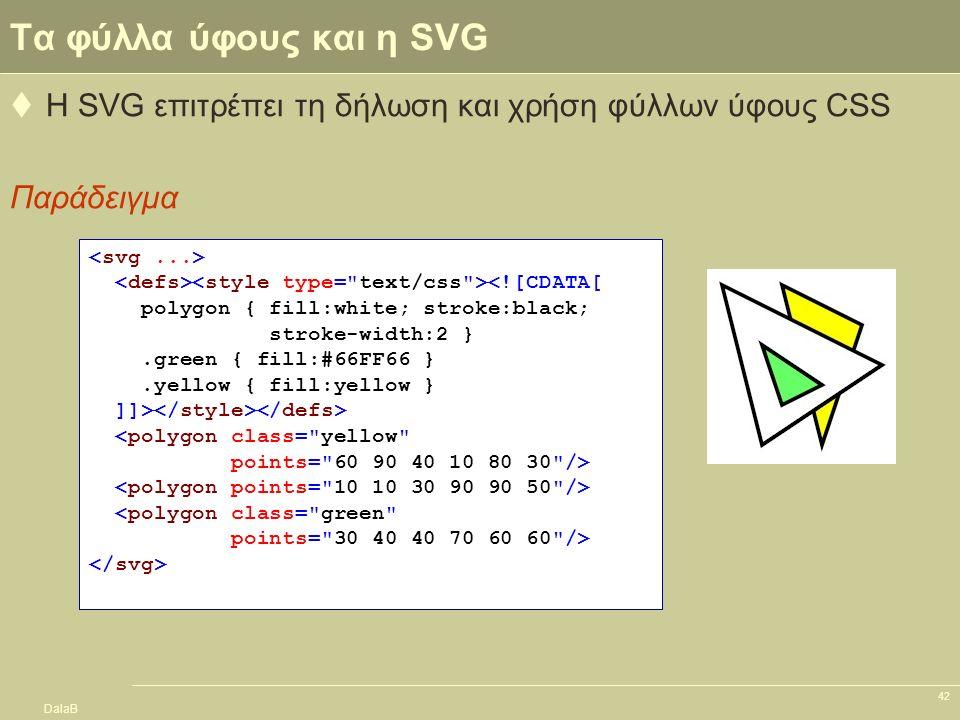 DalaB 42 Tα φύλλα ύφους και η SVG  Η SVG επιτρέπει τη δήλωση και χρήση φύλλων ύφους CSS Παράδειγμα <![CDATA[ polygon { fill:white; stroke:black; stro