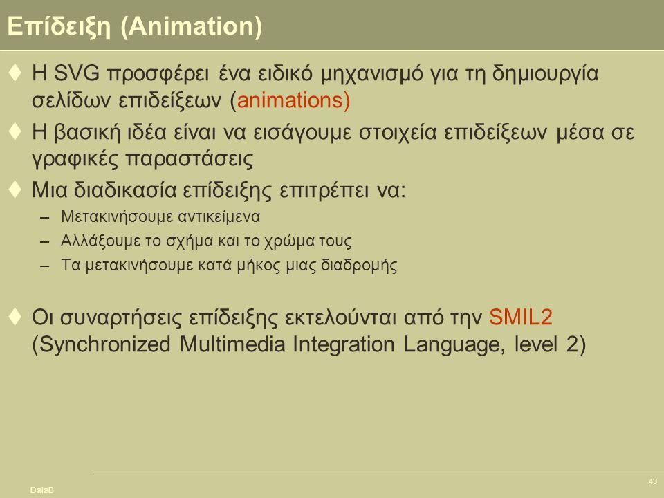 DalaB 43 Επίδειξη (Animation)  Η SVG προσφέρει ένα ειδικό μηχανισμό για τη δημιουργία σελίδων επιδείξεων (animations)  Η βασική ιδέα είναι να εισάγο