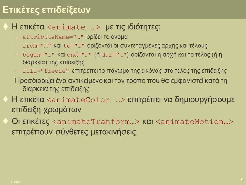 DalaB 44 Ετικέτες επιδείξεων  Η ετικέτα με τις ιδιότητες: –attributeName=