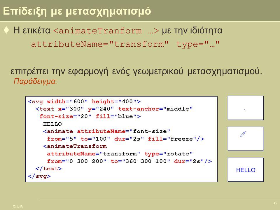 DalaB 45 Επίδειξη με μετασχηματισμό  Η ετικέτα με την ιδιότητα attributeName=