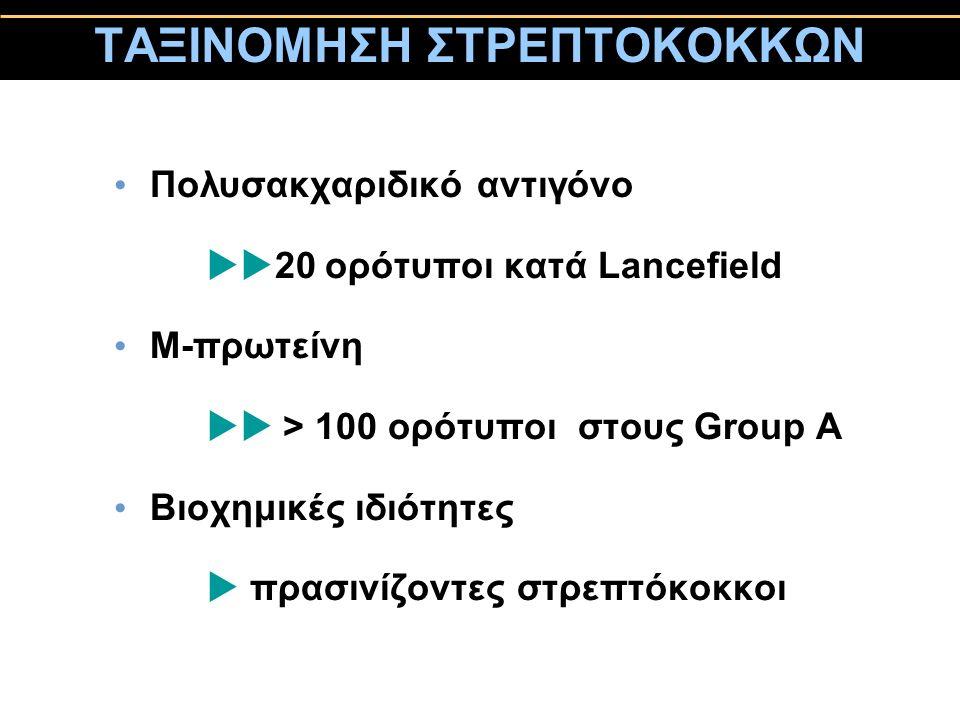 ΤΑΞΙΝΟΜΗΣΗ ΣΤΡΕΠΤΟΚΟΚΚΩΝ Πολυσακχαριδικό αντιγόνο  20 ορότυποι κατά Lancefield Μ-πρωτείνη  > 100 ορότυποι στους Group A Βιοχημικές ιδιότητες  πρα