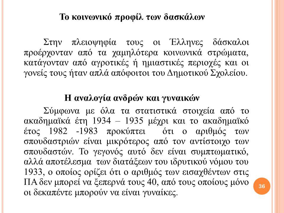 Το κοινωνικό προφίλ των δασκάλων Στην πλειοψηφία τους οι Έλληνες δάσκαλοι προέρχονταν από τα χαμηλότερα κοινωνικά στρώματα, κατάγονταν από αγροτικές ή ημιαστικές περιοχές και οι γονείς τους ήταν απλά απόφοιτοι του Δημοτικού Σχολείου.