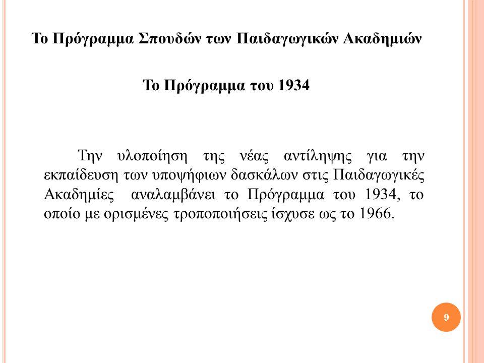 Το Πρόγραμμα Σπουδών των Παιδαγωγικών Ακαδημιών Το Πρόγραμμα του 1934 Την υλοποίηση της νέας αντίληψης για την εκπαίδευση των υποψήφιων δασκάλων στις Παιδαγωγικές Ακαδημίες αναλαμβάνει το Πρόγραμμα του 1934, το οποίο με ορισμένες τροποποιήσεις ίσχυσε ως το 1966.