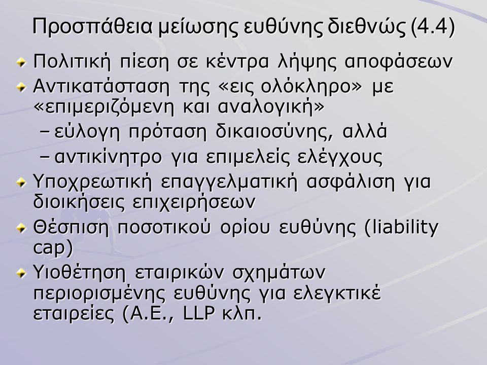 Προσπάθεια μείωσης ευθύνης διεθνώς (4.4) Πολιτική πίεση σε κέντρα λήψης αποφάσεων Αντικατάσταση της «εις ολόκληρο» με «επιμεριζόμενη και αναλογική» –ε