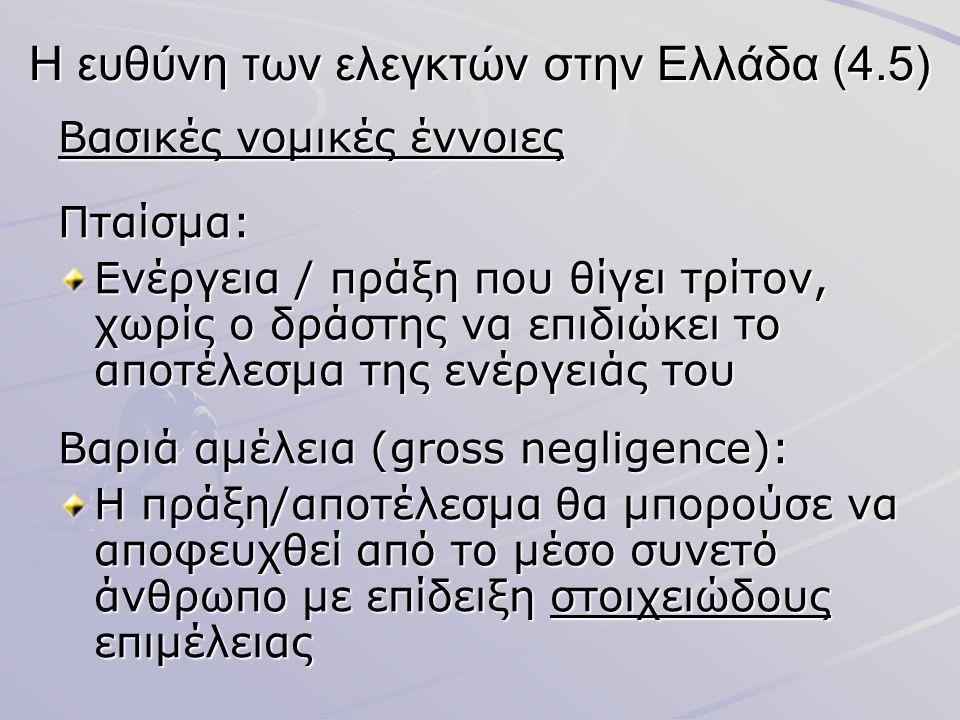 Η ευθύνη των ελεγκτών στην Ελλάδα (4.5) Βασικές νομικές έννοιες Πταίσμα: Ενέργεια / πράξη που θίγει τρίτον, χωρίς ο δράστης να επιδιώκει το αποτέλεσμα