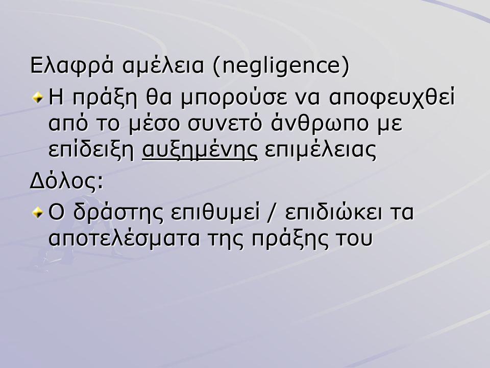 Ελαφρά αμέλεια (negligence) Η πράξη θα μπορούσε να αποφευχθεί από το μέσο συνετό άνθρωπο με επίδειξη αυξημένης επιμέλειας Δόλος: Ο δράστης επιθυμεί /