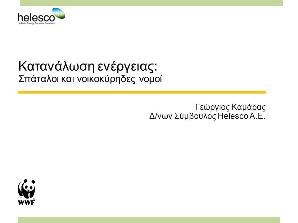 Κατανάλωση ενέργειας: Σπάταλοι και νοικοκύρηδες νομοί Γεώργιος Καμάρας Δ/νων Σύμβουλος Helesco Α.Ε.
