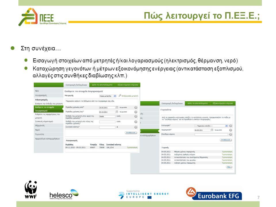 8 Πώς λειτουργεί το Π.ΕΞ.Ε.; Δεύτερο βήμα: Αποτελέσματα του Energy Savings Account (ESA) Γραφική απεικόνιση της εξέλιξης της κατανάλωσης (KWh, κόστη, εκπομπές CO 2 ) Σύγκριση με τα υπόλοιπα νοικοκυριά