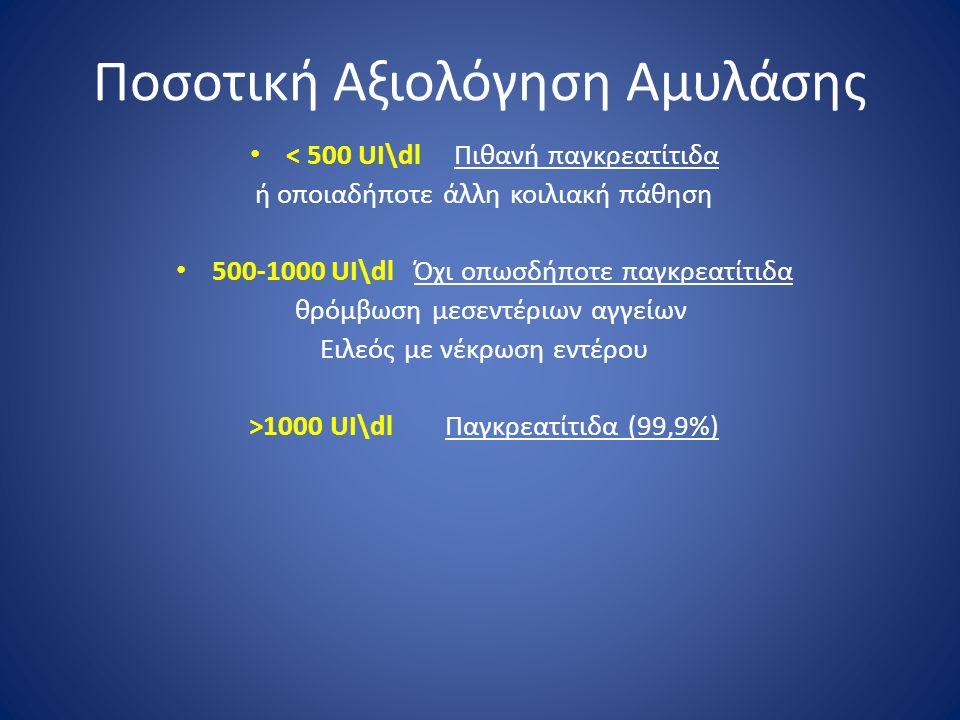 Ποσοτική Αξιολόγηση Αμυλάσης < 500 UI\dl Πιθανή παγκρεατίτιδα ή οποιαδήποτε άλλη κοιλιακή πάθηση 500-1000 UI\dl Όχι οπωσδήποτε παγκρεατίτιδα θρόμβωση