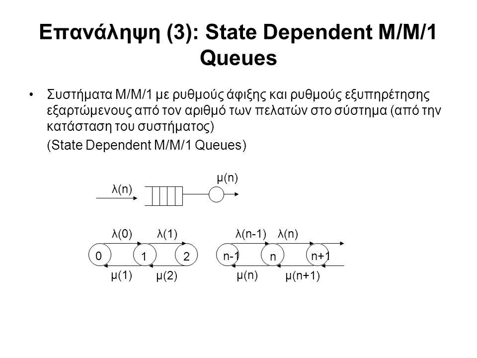 Επανάληψη (3): State Dependent M/M/1 Queues Συστήματα Μ/Μ/1 με ρυθμούς άφιξης και ρυθμούς εξυπηρέτησης εξαρτώμενους από τον αριθμό των πελατών στο σύστημα (από την κατάσταση του συστήματος) (State Dependent M/M/1 Queues) λ(n) μ(n) λ(0)λ(1)λ(n-1) μ(1) μ(2) λ(n) μ(n) μ(n+1) 0 12 n-1 n n+1