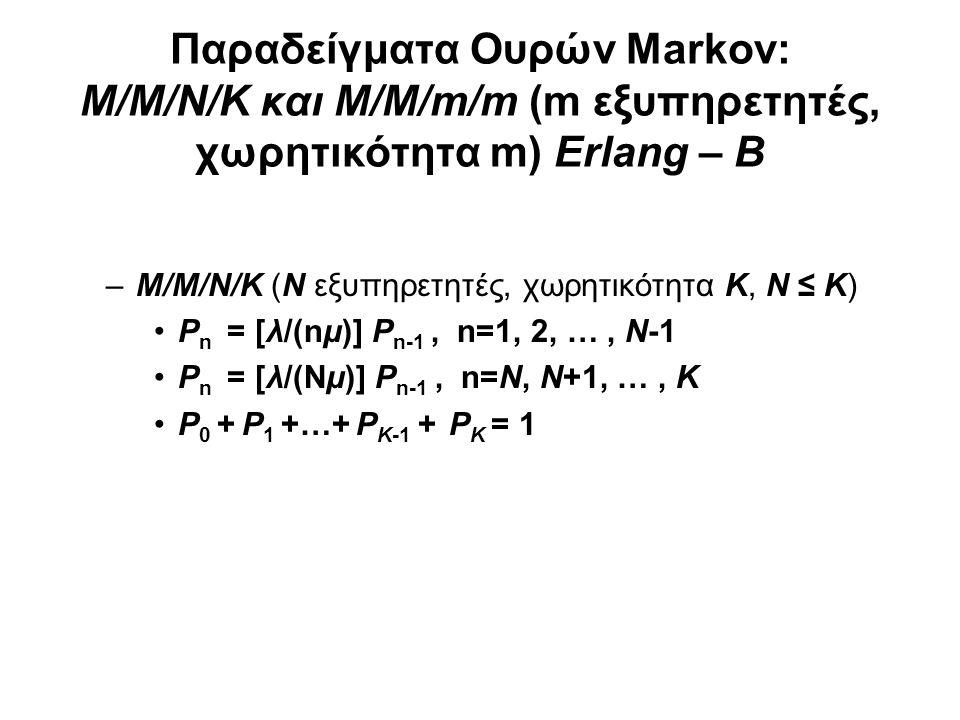 M/M/m/m (m εξυπηρετητές, χωρητικότητα m) Erlang – B –M/M/m/m (m εξυπηρετητές, χωρητικότητα m) Erlang – B Μοντέλο τηλεφωνικού κέντρου με μέσο ρυθμό κλήσεων λ (Poisson), εκθετική διάρκεια τηλεφωνήματος, μέσος χρόνος 1/μ, m γραμμές και απώλειες χωρίς επανάκληση (redial) ρ = λ/μ (Erlangs) P bl = P m = (ρ m /m!) / (1 + ρ + ρ 2 /2+ ρ 3 /3.