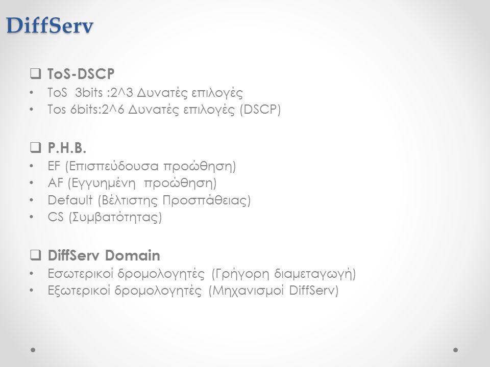 DiffServ  ToS-DSCP ToS 3bits :2^3 Δυνατές επιλογές Tos 6bits:2^6 Δυνατές επιλογές (DSCP)  P.H.B.