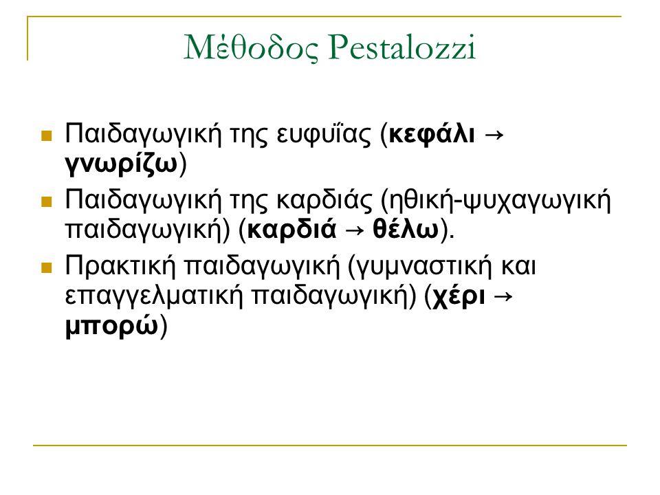 Μέθοδος Pestalozzi Παιδαγωγική της ευφυΐας (κεφάλι → γνωρίζω) Παιδαγωγική της καρδιάς (ηθική-ψυχαγωγική παιδαγωγική) (καρδιά → θέλω). Πρακτική παιδαγω