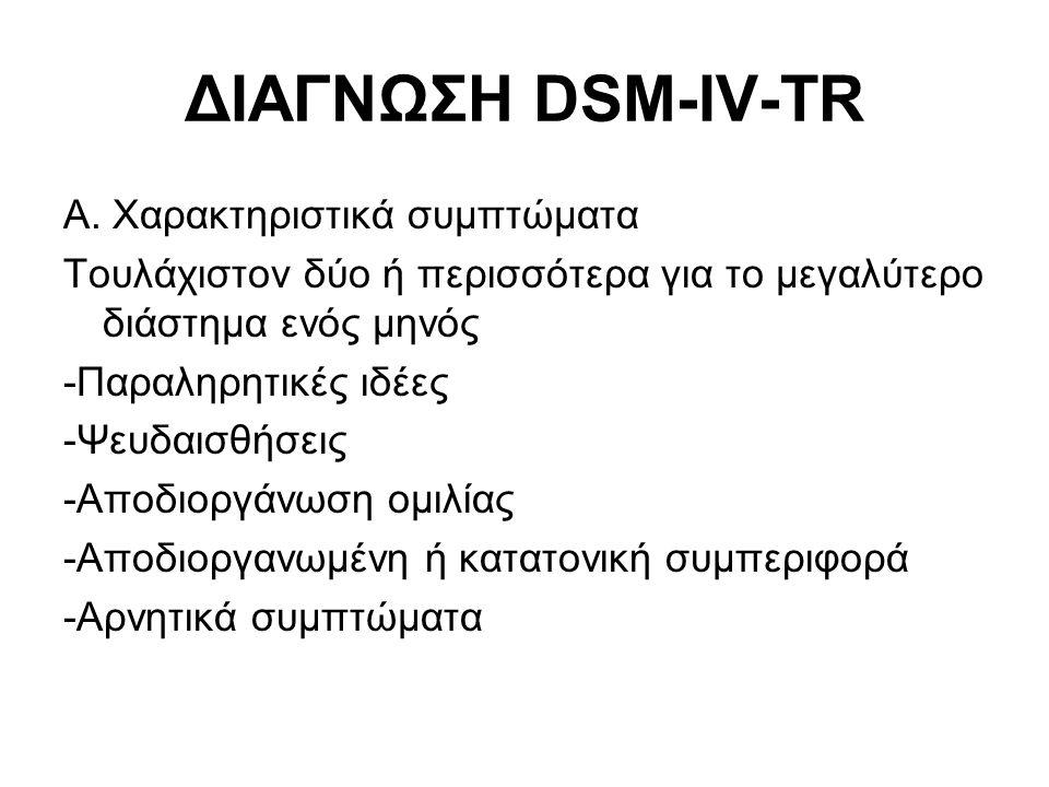 ΔΙΑΓΝΩΣΗ DSM-IV-TR Α. Χαρακτηριστικά συμπτώματα Τουλάχιστον δύο ή περισσότερα για το μεγαλύτερο διάστημα ενός μηνός -Παραληρητικές ιδέες -Ψευδαισθήσει