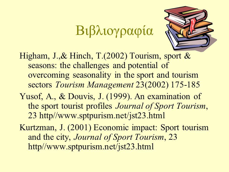 Βιβλιογραφία Higham, J.,& Hinch, T.(2002) Tourism, sport & seasons: the challenges and potential of overcoming seasonality in the sport and tourism sectors Tourism Management 23(2002) 175-185 Yusof, A., & Douvis, J.