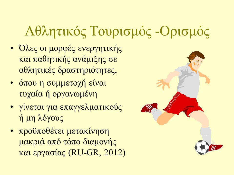 Αθλητικός Τουρισμός -Ορισμός Όλες οι μορφές ενεργητικής και παθητικής ανάμιξης σε αθλητικές δραστηριότητες, όπου η συμμετοχή είναι τυχαία ή οργανωμένη γίνεται για επαγγελματικούς ή μη λόγους προϋποθέτει μετακίνηση μακριά από τόπο διαμονής και εργασίας (RU-GR, 2012)
