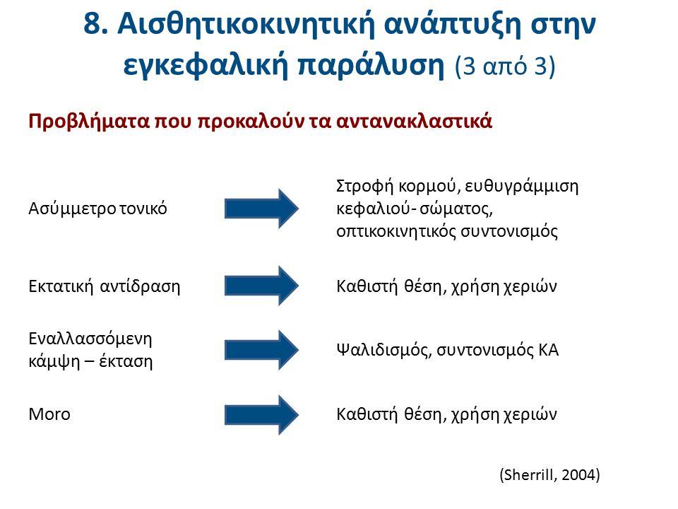 8. Αισθητικοκινητική ανάπτυξη στην εγκεφαλική παράλυση (3 από 3) Στροφή κορμού, ευθυγράμμιση κεφαλιού- σώματος, οπτικοκινητικός συντονισμός Καθιστή θέ