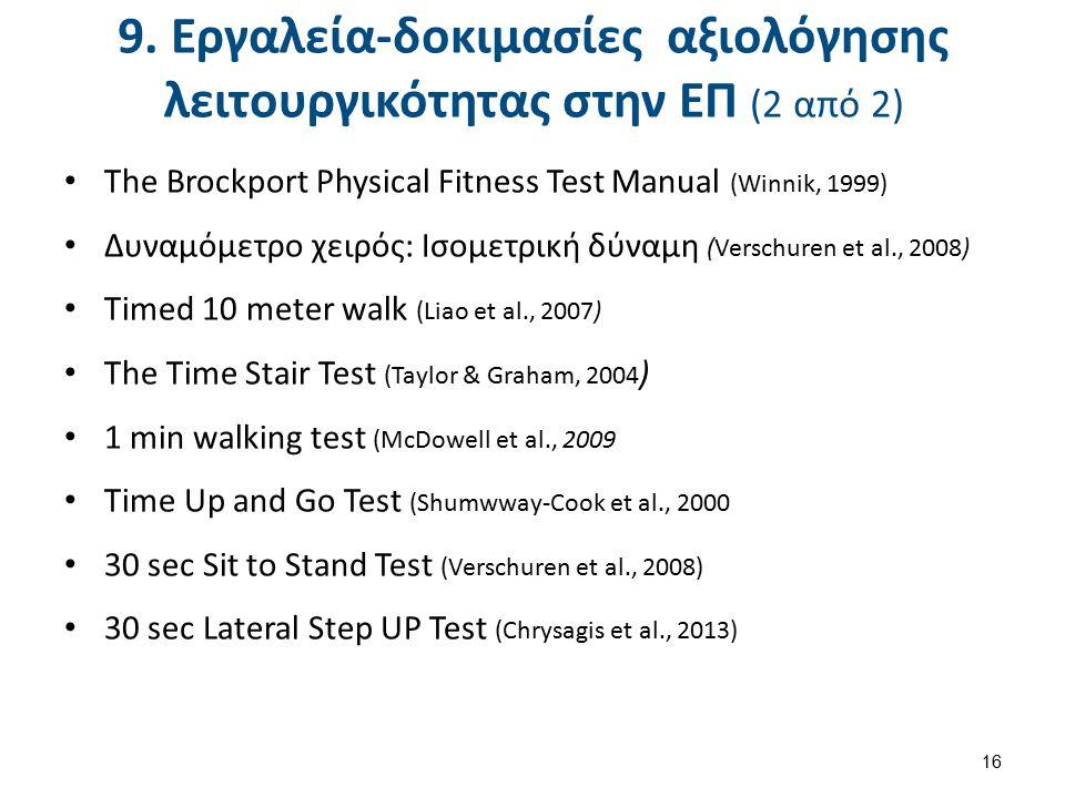 9. Εργαλεία-δοκιμασίες αξιολόγησης λειτουργικότητας στην ΕΠ (2 από 2) The Brockport Physical Fitness Test Manual (Winnik, 1999) Δυναμόμετρο χειρός: Ισ