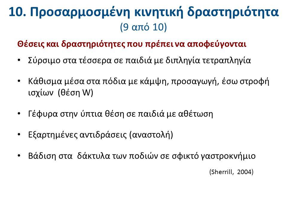 10. Προσαρμοσμένη κινητική δραστηριότητα (9 από 10) Θέσεις και δραστηριότητες που πρέπει να αποφεύγονται Σύρσιμο στα τέσσερα σε παιδιά με διπληγία τετ