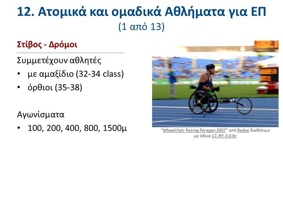12. Ατομικά και ομαδικά Αθλήματα για ΕΠ (1 από 13) Στίβος - Δρόμοι Συμμετέχουν αθλητές με αμαξίδιο (32-34 class) όρθιοι (35-38) Αγωνίσματα 100, 200, 4