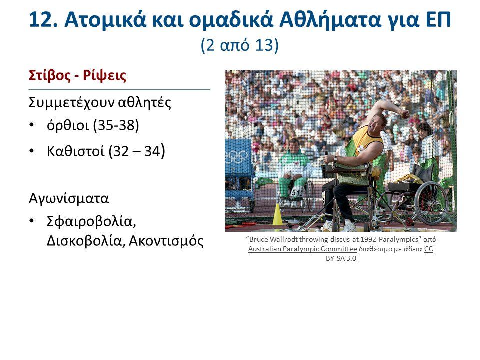 Στίβος - Ρίψεις Συμμετέχουν αθλητές όρθιοι (35-38) Καθιστοί (32 – 34 ) Αγωνίσματα Σφαιροβολία, Δισκοβολία, Ακοντισμός 12. Ατομικά και ομαδικά Αθλήματα