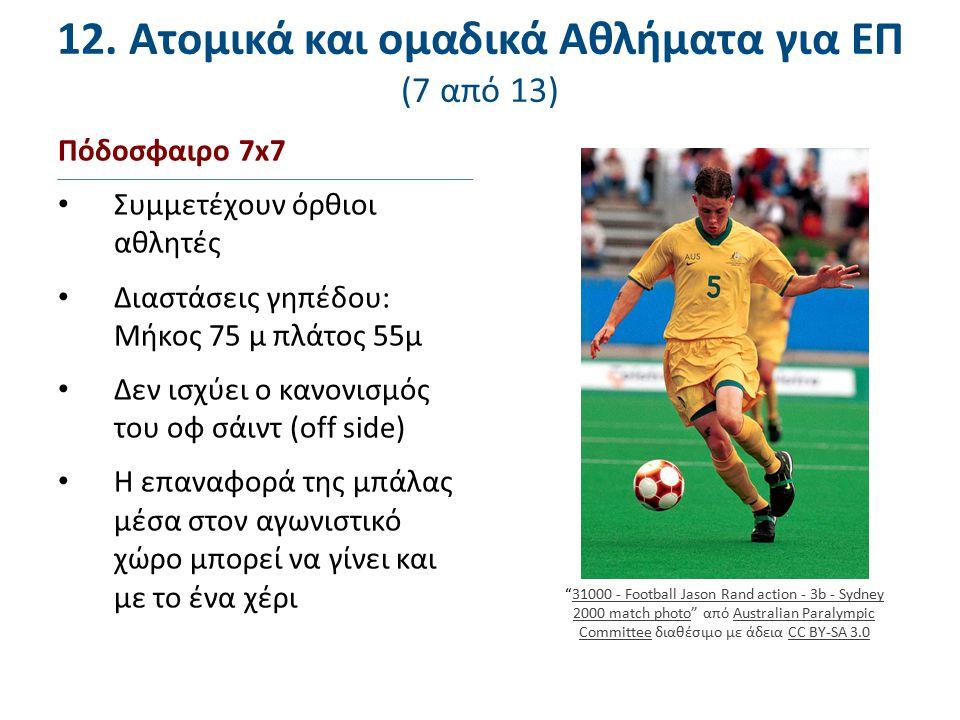 12. Ατομικά και ομαδικά Αθλήματα για ΕΠ (7 από 13) Πόδοσφαιρο 7x7 Συμμετέχουν όρθιοι αθλητές Διαστάσεις γηπέδου: Μήκος 75 μ πλάτος 55μ Δεν ισχύει ο κα