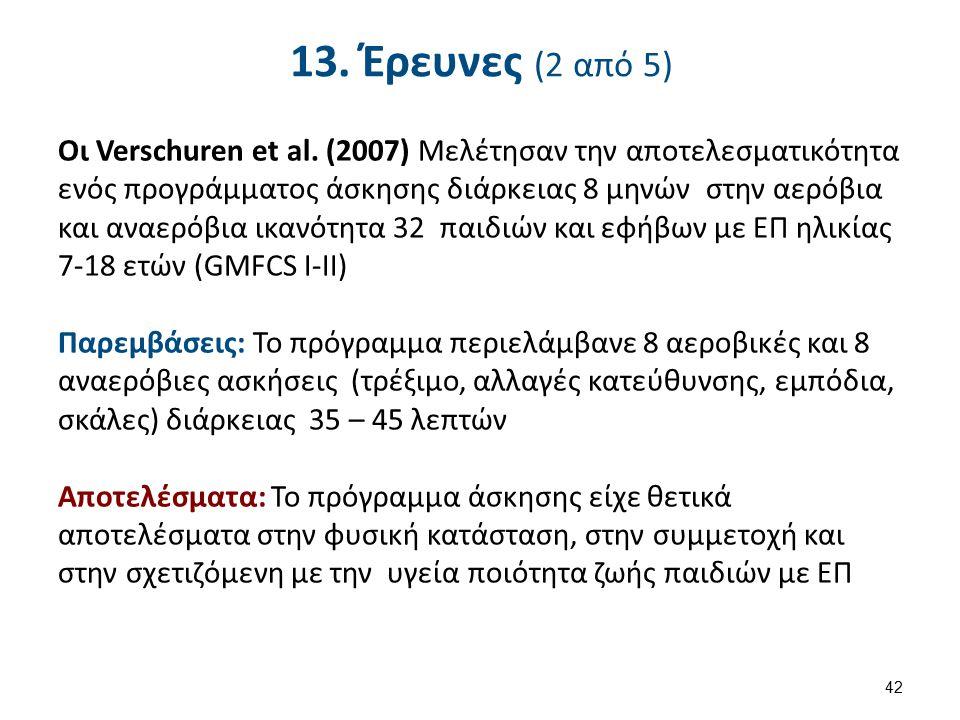 13. Έρευνες (2 από 5) Οι Verschuren et al. (2007) Μελέτησαν την αποτελεσματικότητα ενός προγράμματος άσκησης διάρκειας 8 μηνών στην αερόβια και αναερό