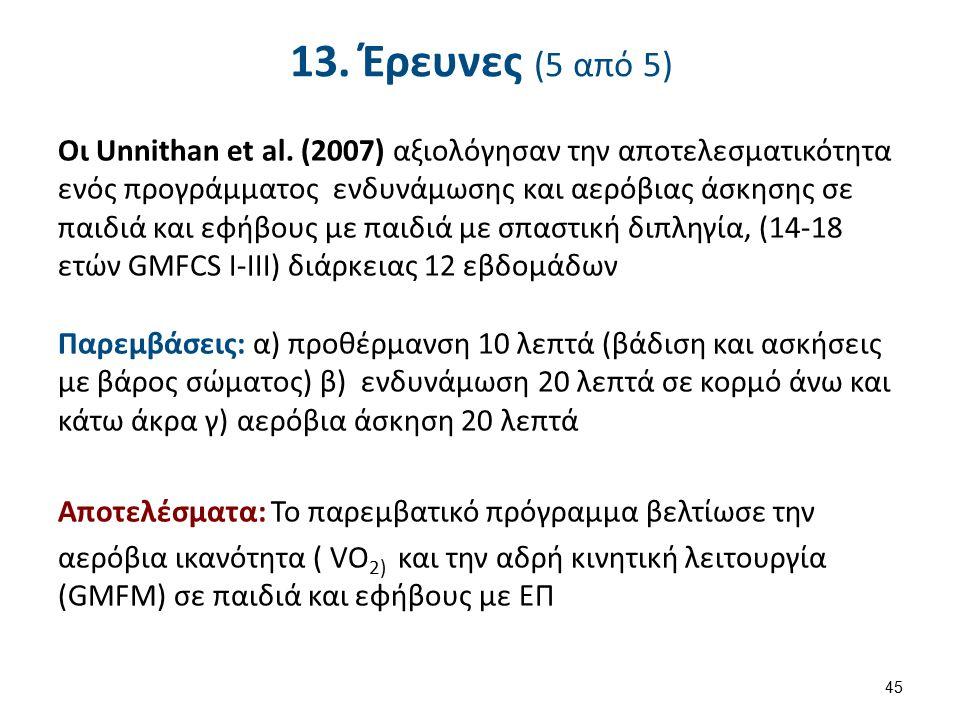 13. Έρευνες (5 από 5) Οι Unnithan et al. (2007) αξιολόγησαν την αποτελεσματικότητα ενός προγράμματος ενδυνάμωσης και αερόβιας άσκησης σε παιδιά και εφ