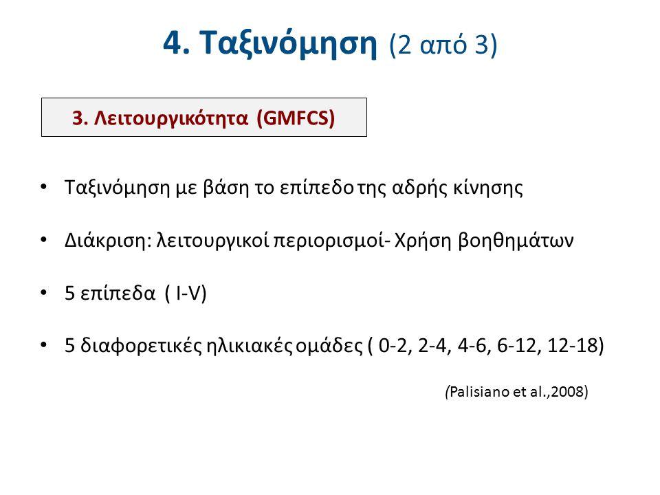 4. Ταξινόμηση (2 από 3) Ταξινόμηση με βάση το επίπεδο της αδρής κίνησης Διάκριση: λειτουργικοί περιορισμοί- Χρήση βοηθημάτων 5 επίπεδα ( Ι-V) 5 διαφορ