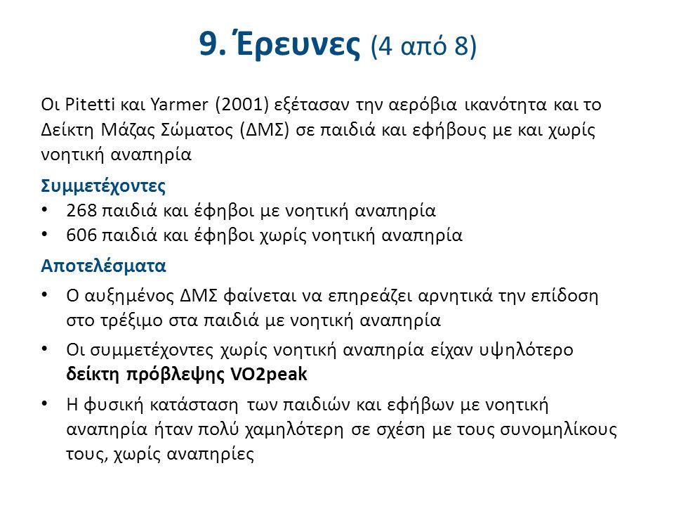 9. Έρευνες (4 από 8) Οι Pitetti και Yarmer (2001) εξέτασαν την αερόβια ικανότητα και το Δείκτη Μάζας Σώματος (ΔΜΣ) σε παιδιά και εφήβους με και χωρίς
