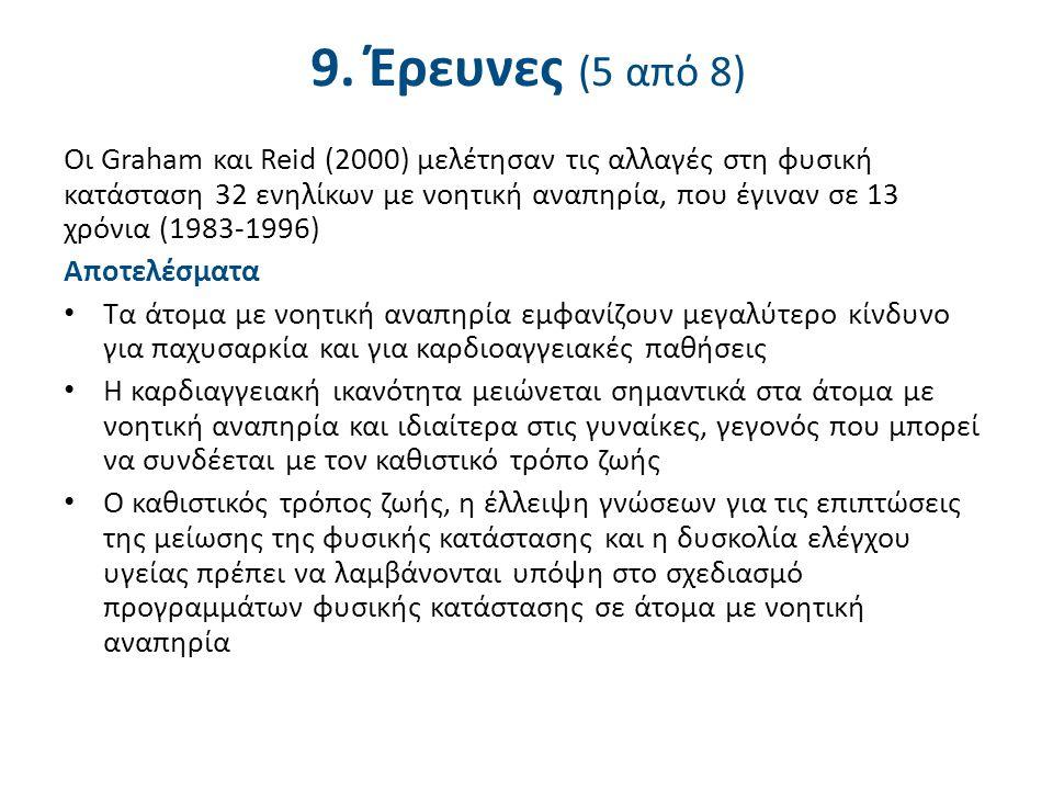 9. Έρευνες (5 από 8) Οι Graham και Reid (2000) μελέτησαν τις αλλαγές στη φυσική κατάσταση 32 ενηλίκων με νοητική αναπηρία, που έγιναν σε 13 χρόνια (19